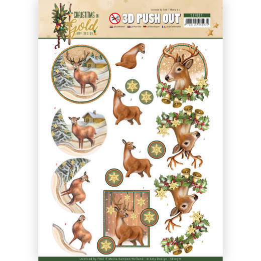 3D Pushout - Amy Design - Christmas in Gold - Deers in Gold