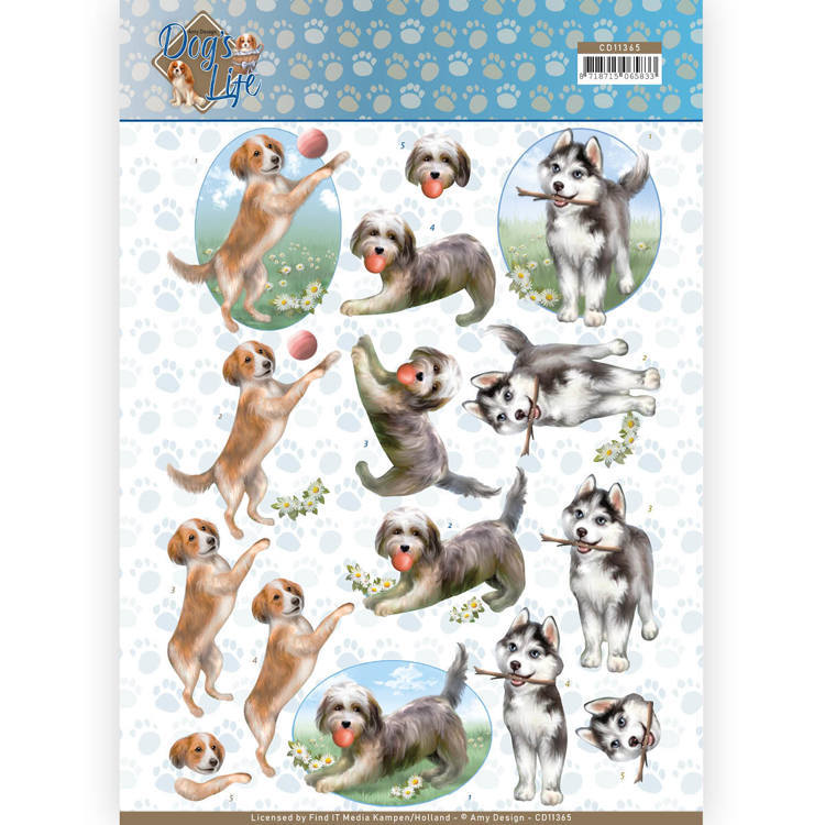 CD11365 3D Knipvel - Amy Design - Dogs Life - Playing Dogs