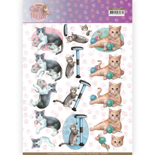 3D Knipvel - Amy Design - Cats World - Playing Cats