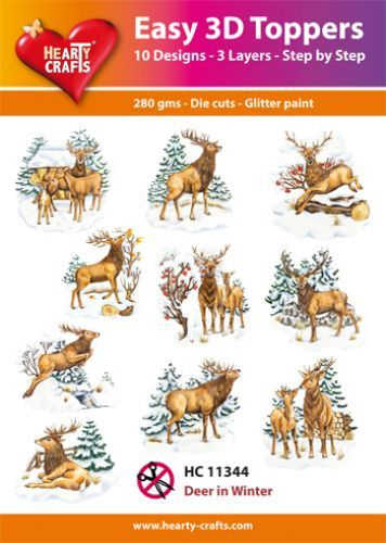 Easy 3D-Toppers - Hearty Crafts - Deer in Winter