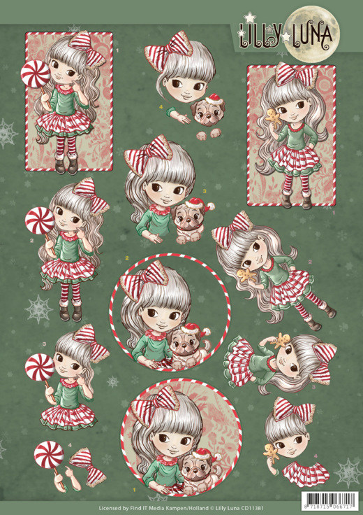 CD11381 3D knipvel - Yvonne Creations - Lilly Luna Christmas Fun