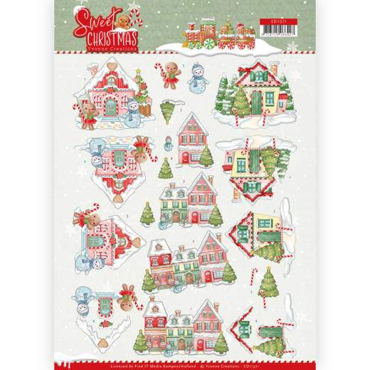 CD11371 3D Knipvel - Yvonne Creations - Sweet Christmas - Sweet Houses