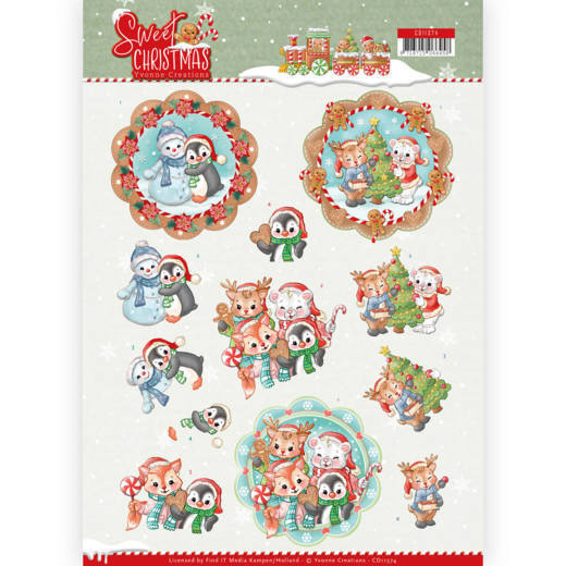 CD11374 3D Knipvel - Yvonne Creations - Sweet Christmas - Sweet Winter Animals