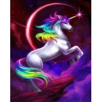 Diamond Painting - unicorn op berg