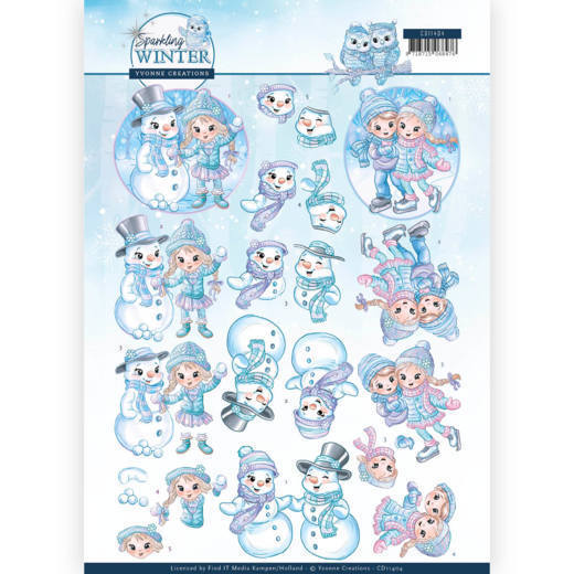 CD11404 3D Knipvel - Yvonne Creations - Sparkling Winter - Winterfun