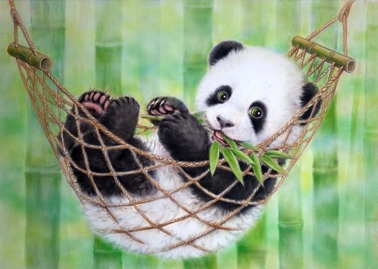 Diamond Painting - panda in hangmat