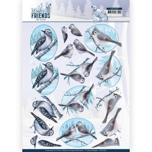 CD11407 3D Knipvel - Amy Design - Winter Friends - Sparkling Birds
