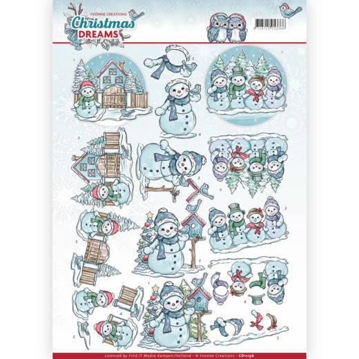CD11136 3D Knipvel - Yvonne Creations - Christmas Dreams - Snowman