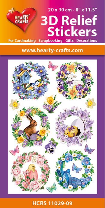 3D Relief Stickers A4 - Spring Wreaths