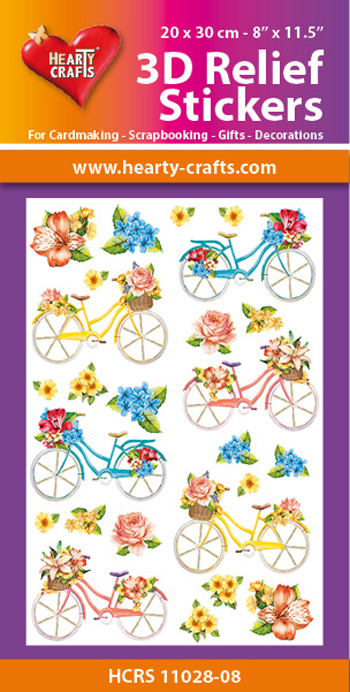 3D Relief Stickers A4 - Bicycles