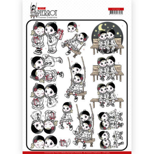 CD11465 3D Knipvel - Yvonne Creations - Petit Pierrot - Happy Together