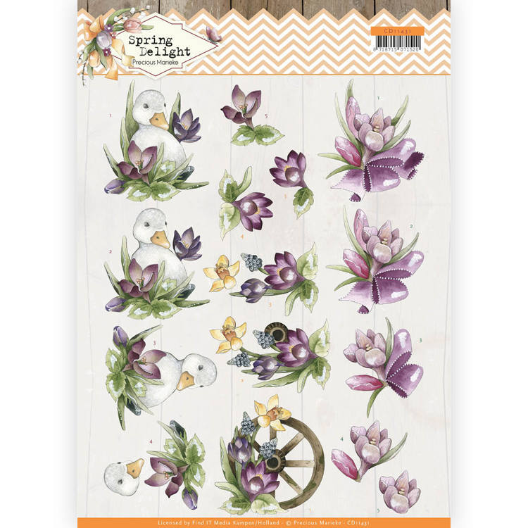 CD11431 3D Knipvel - Precious Marieke - Spring Delight - Purple Crocus