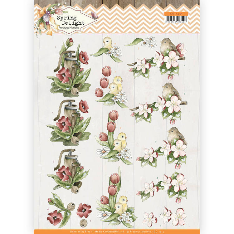 CD11433 3D Knipvel - Precious Marieke - Spring Delight - Red Flowers
