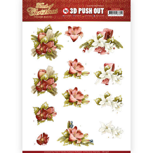 3D Pushout - Precious Marieke - Touch of Christmas - Red Flowers