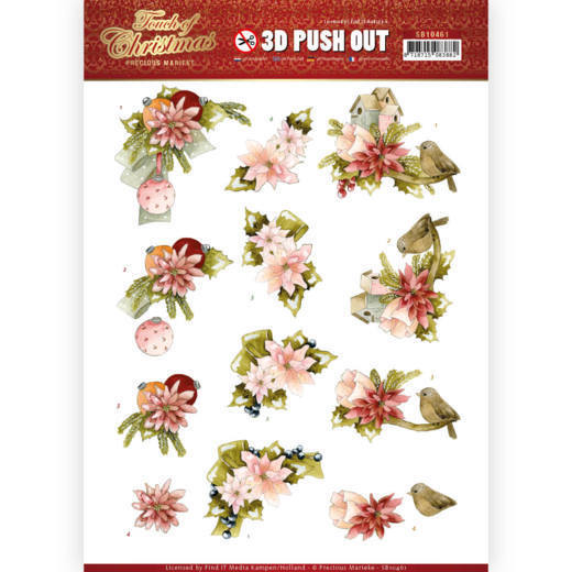 3D Pushout - Precious Marieke - Touch of Christmas - Pink Flowers