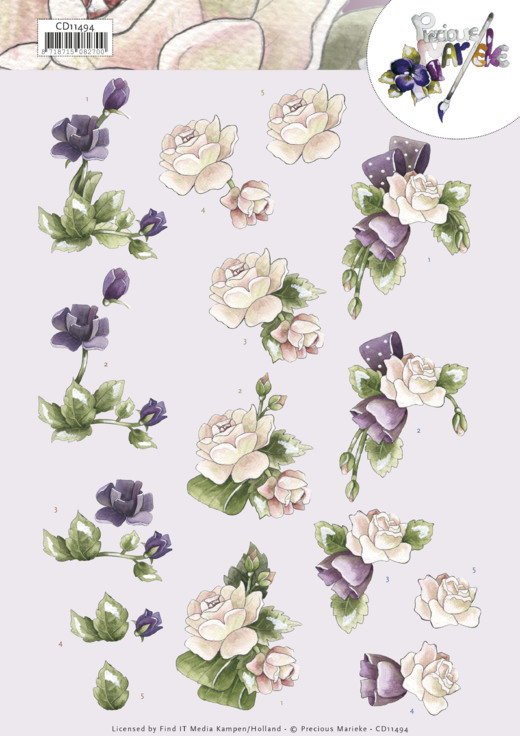 CD11494 3D Knipvel - Precious Marieke - Purple Flowers