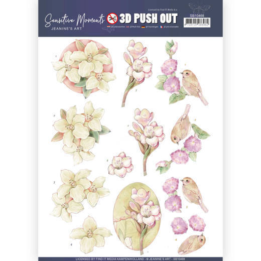 3D uitdrukvel - Jeanine's Art - Sensitive Moments - Freesias