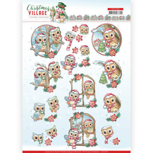 CD11541 3D Knipvel - Yvonne Creations - Christmas Village - Christmas Owls