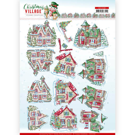 CD11540 3D Knipvel - Yvonne Creations - Christmas Village - Christmas Houses