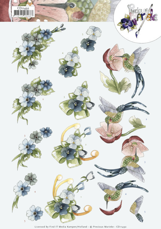 CD11492 3D Cutting Sheet - Precious Marieke - Blue Flowers