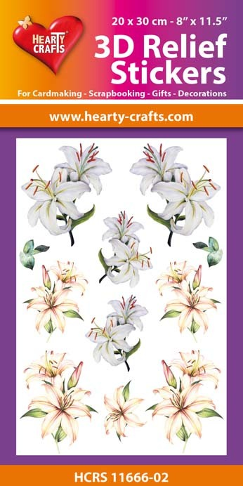 3D Relief Stickers A4 -Lilies