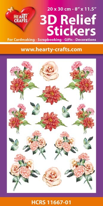 3D Relief Stickers A4 -Bouquets of Carnation