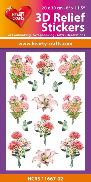 3D Relief Stickers A4 -Bouquets of Carnations