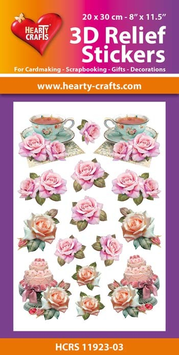 3D Relief Stickers A4 - Vintage Roses