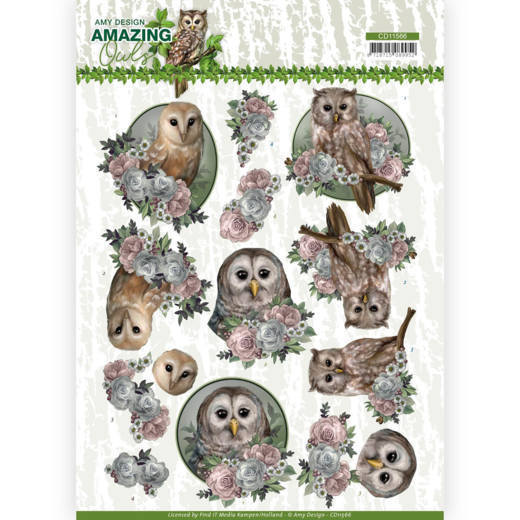 CD11566 3D Cutting Sheet - Amy Design - Amazing Owls - Romantic Owls