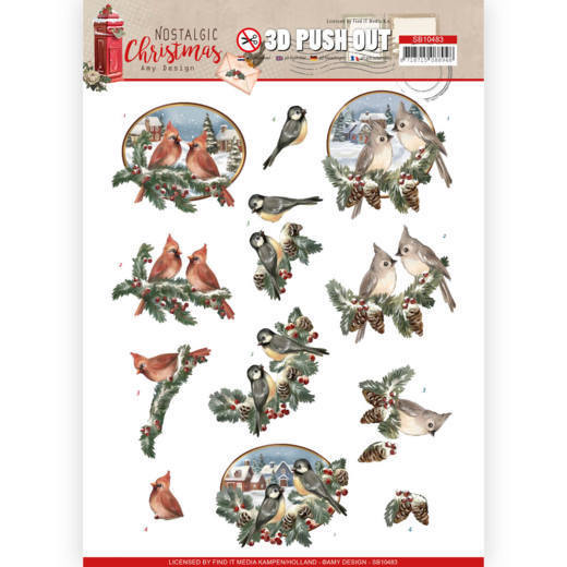 SB10483 3D Push Out - Amy Design - Nostalgic Christmas - Christmas Birds