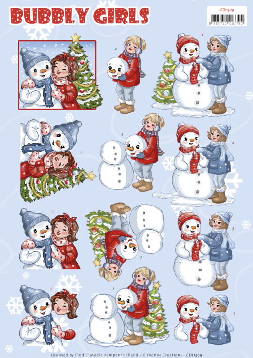 CD11509 3D Cutting Sheet - Yvonne Creations - Bubbly Girls - Christmas