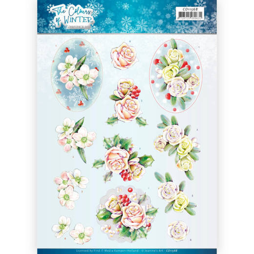 3D Cutting Sheet - Jeanine's Art - The colours of winter - Pink winter flowers
