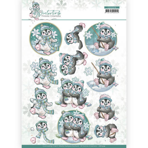 CD11574 3D cutting sheet - Yvonne Creations - Winter Time - Penguin