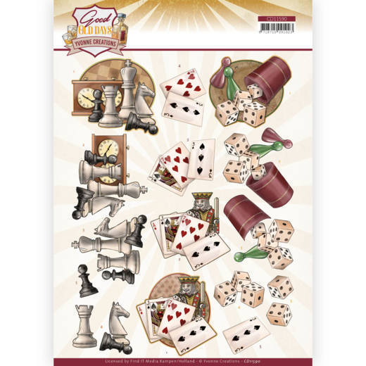 CD11590 3D cutting sheet - Yvonne Creations - Good old day's - Games