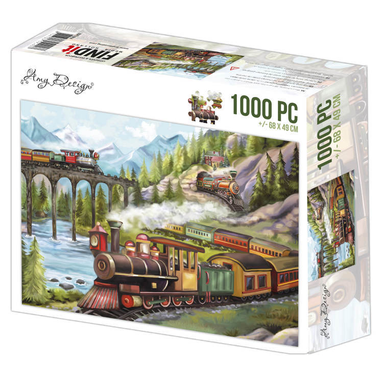 ADPZ1014 Jigsaw puzzel 1000 pc - Amy Design - Trains